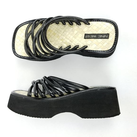 0a603567a86 Vintage 90s Nine West Platform Sandals Strappy. M 5b9ac17d6197450a7b29f0b6